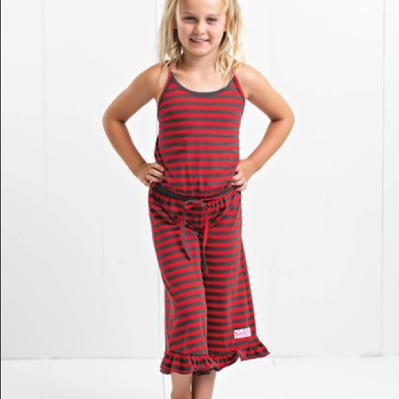 Ruffle Girl Red Stripe Ruffle Capri Romper